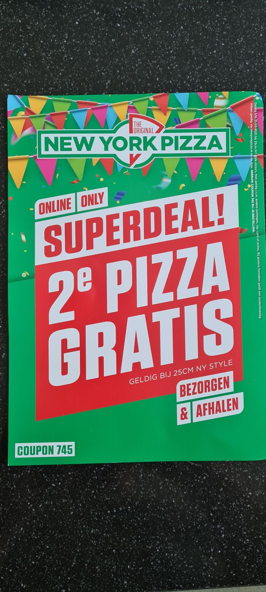 NewYorkPizza 2e pizza gratis bezorgen & afhalen (online of via de app bestellen)