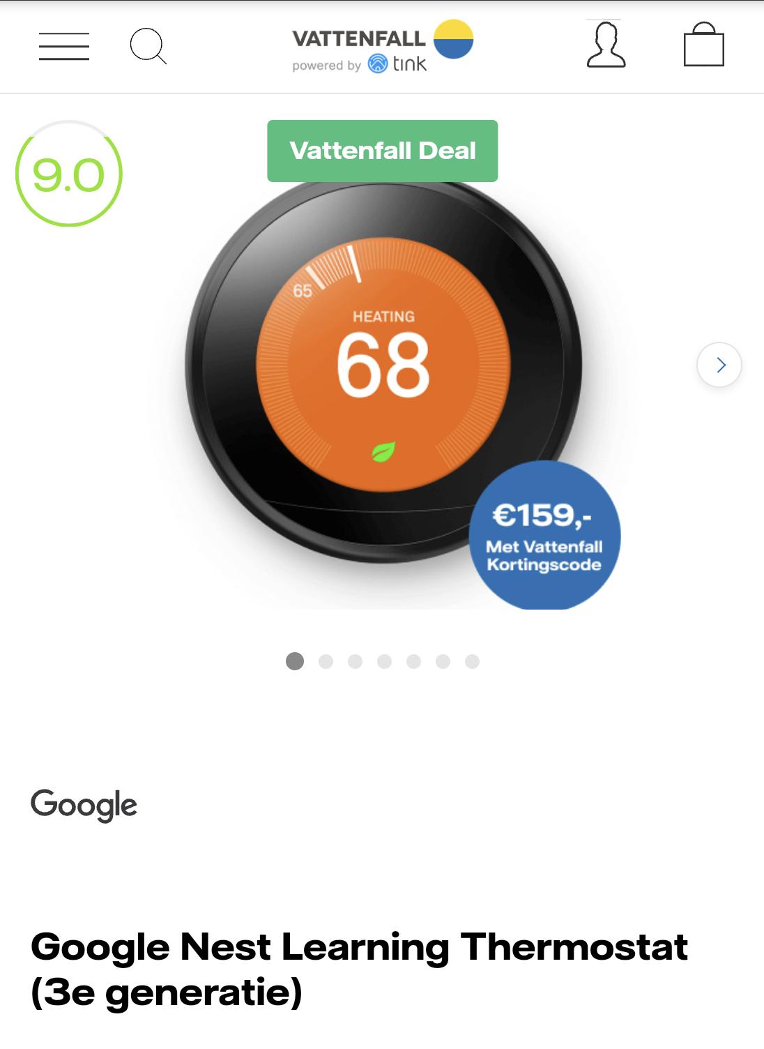 Google Nest thermostaat V3 met vattenfall code *lees omschrijving*