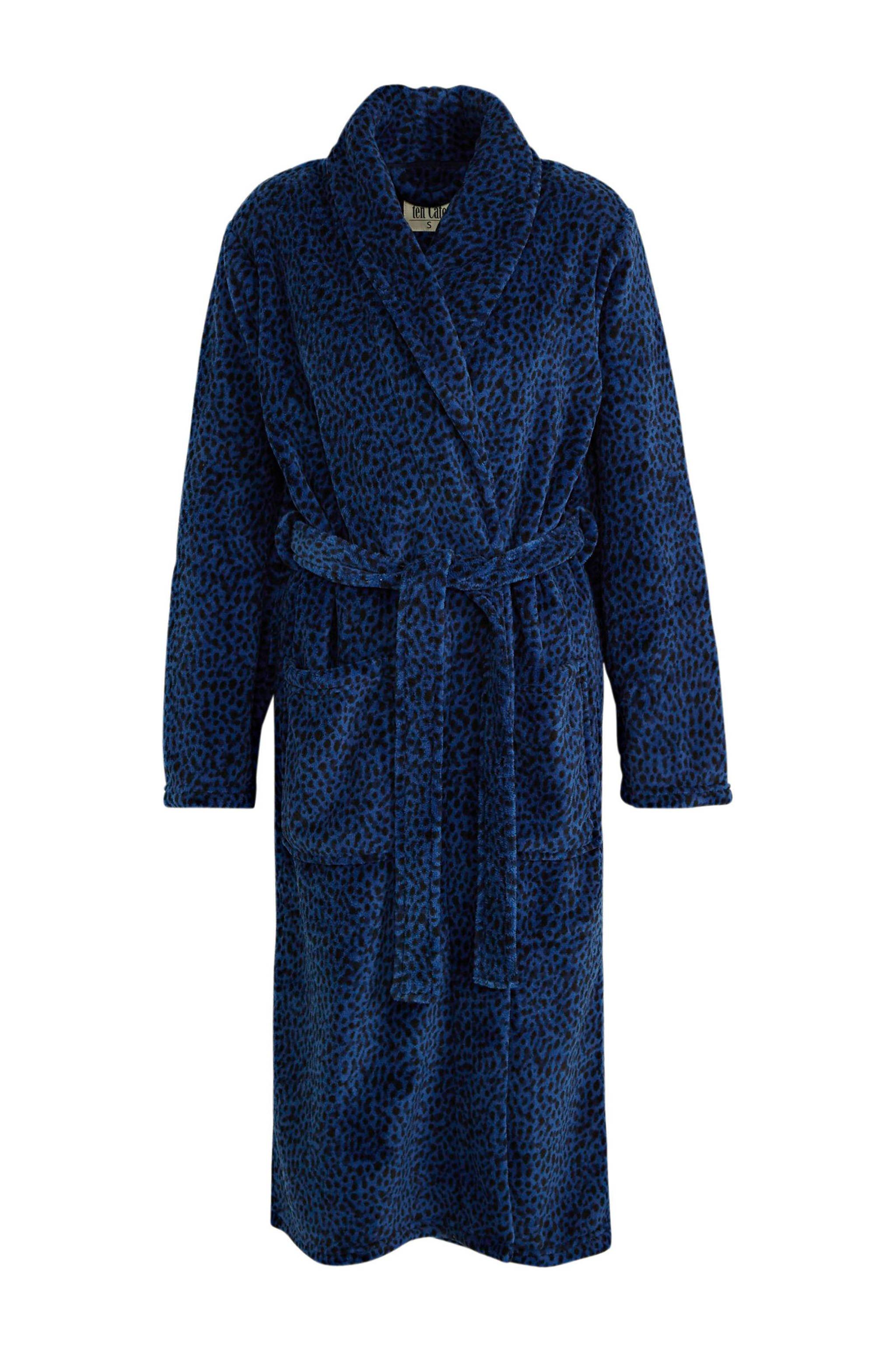 ten Cate fleece badjas met all over print donkerblauw