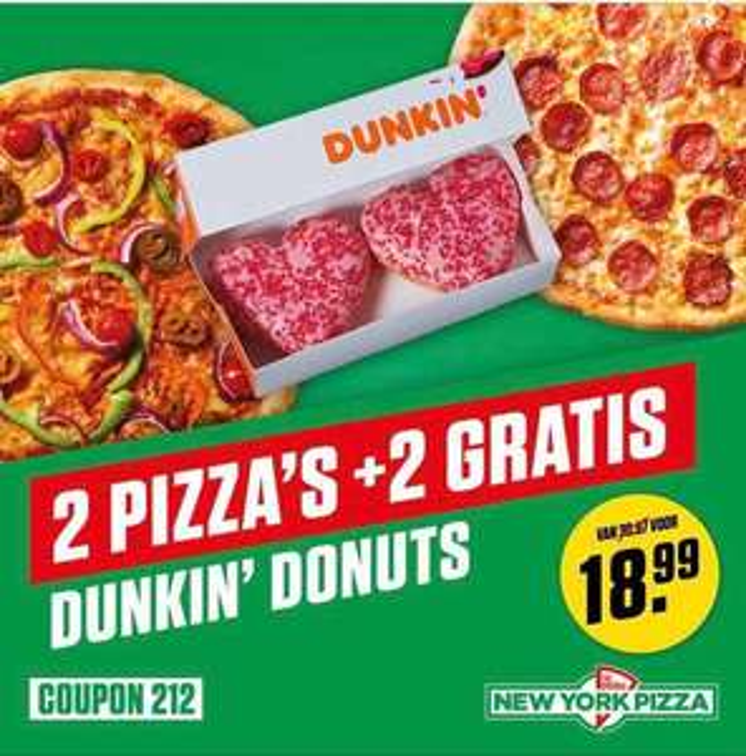 2 pizza's + 2 dunkin' donuts bij New York Pizza voor €18,99