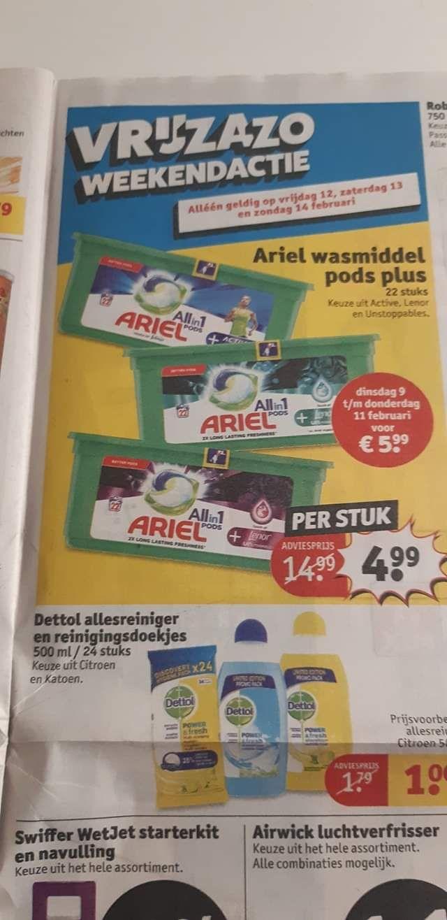 Ariel pods grote doos 22 stuks normaal 14,99 nu 4,99