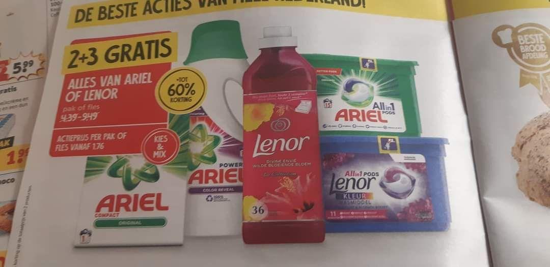 Jan linders Ariel of lenor 2+3 gratis. Prijs voorbeeld ariel pods 14 stuks 18,95+ 3 dozen gratid
