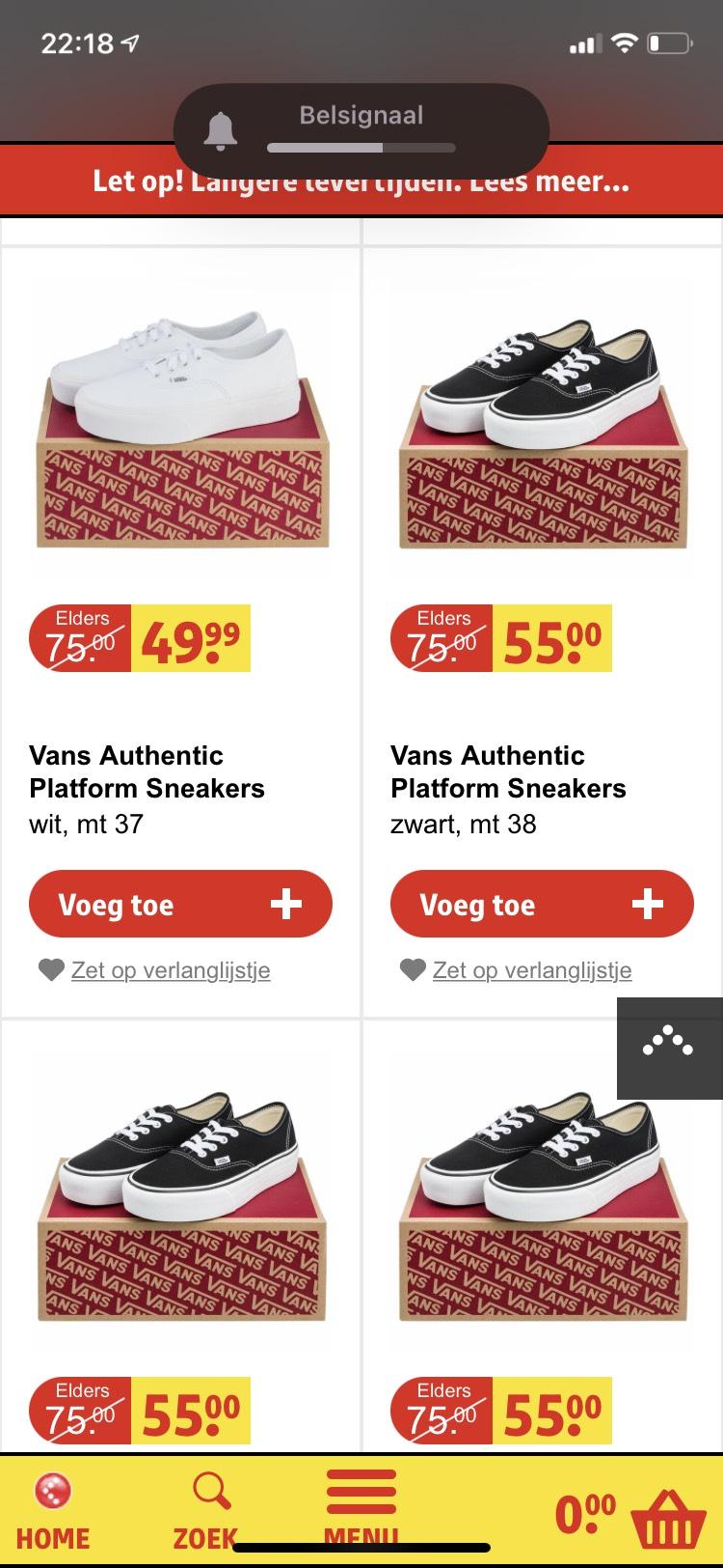 Vans sneakers voor €45 en €55