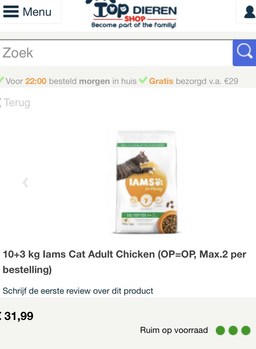 10+3 kg Iams Cat Adult Chicken