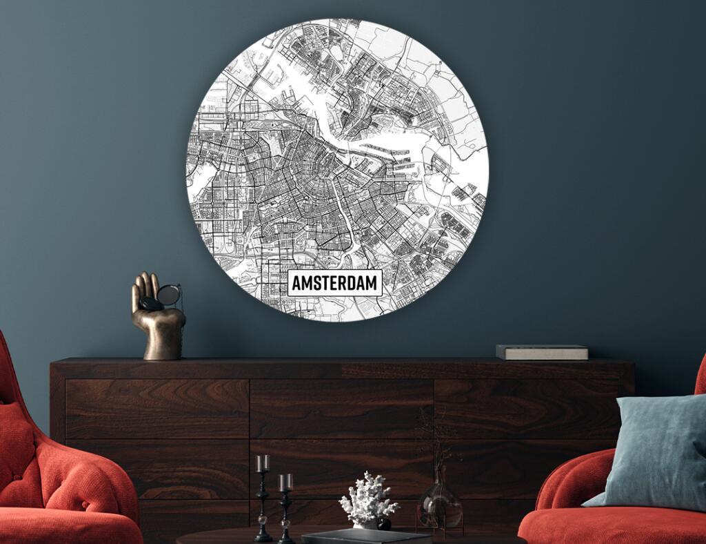 Wandcirkel met plattegrond van Nederlandse stad naar keuze (50 steden) - 30cm €22,39 // 60cm €38,35 // 90cm €47,03 // 120cm €69,43