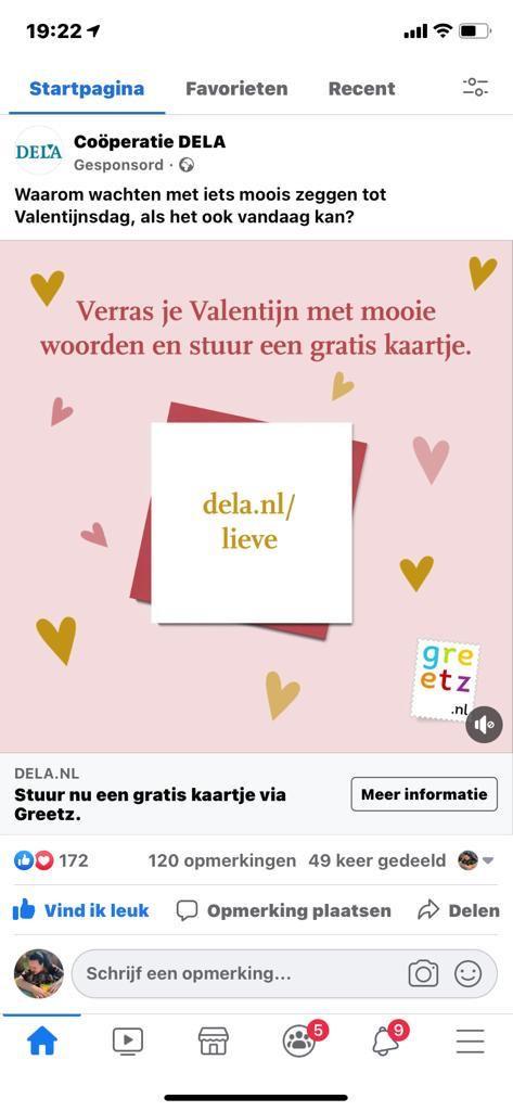 Gratis kaartje via Dela Greetz