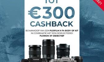 Tot €300 cashback bij Fujifilm X-T4, X-T3 of X-T30