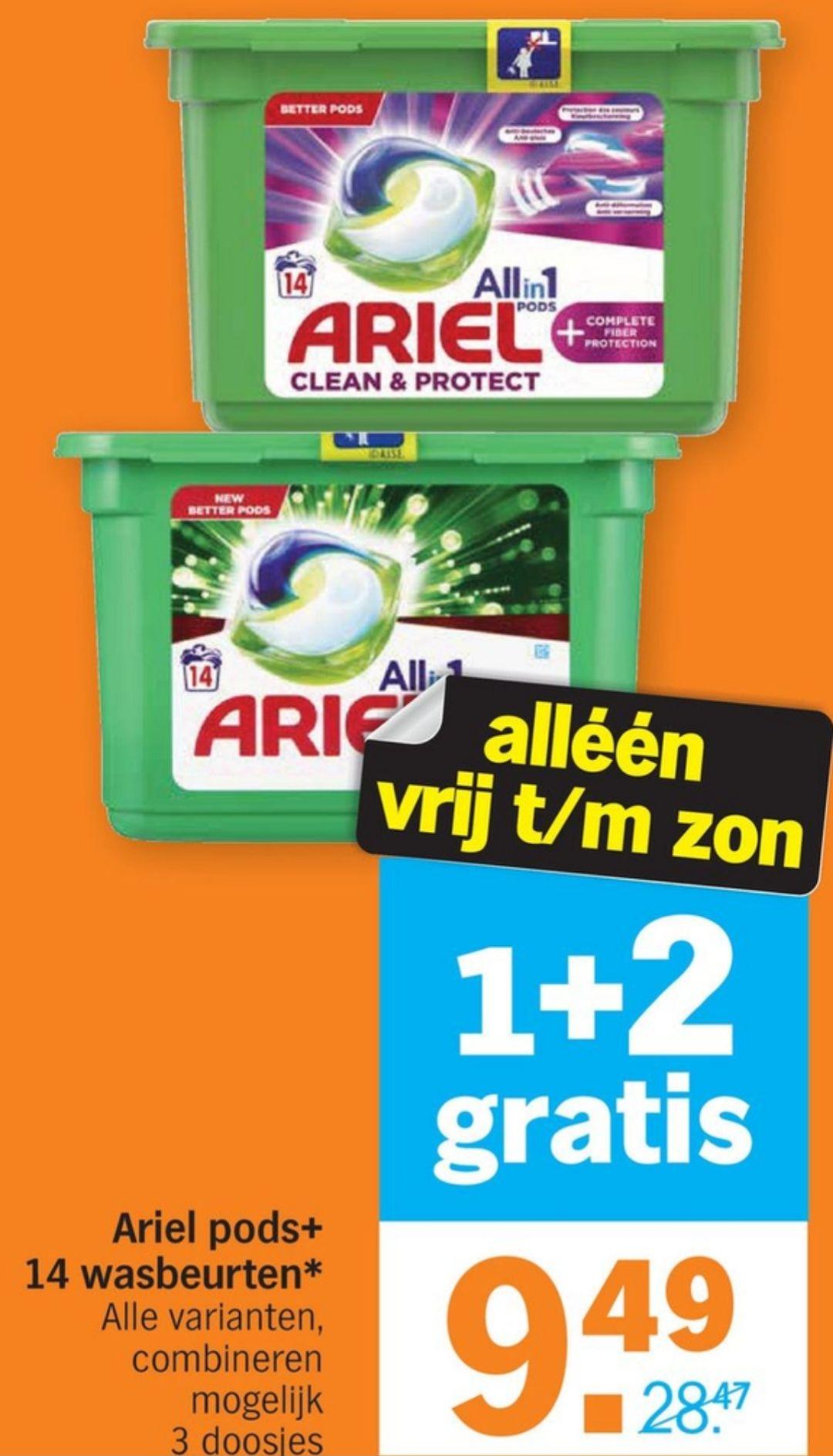 Ariel Pods 14 wasbeurten 1+2 gratis bij Albertheijn vanaf vrijdag