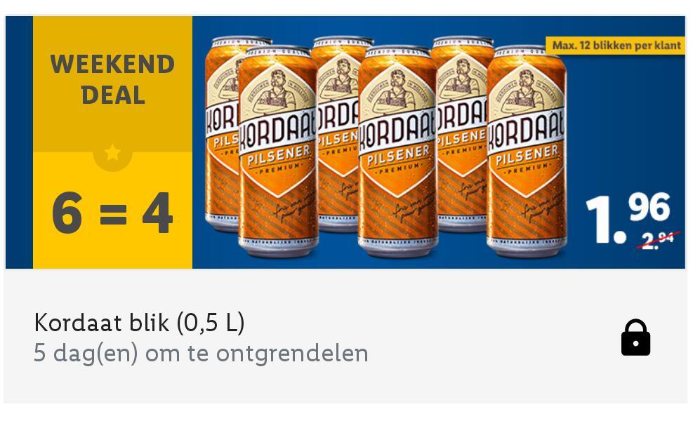Weekend deal Kordaat 0,5L 6 blikken voor maar € 1,96 [Bij gebruik van de App 20-02-2021]