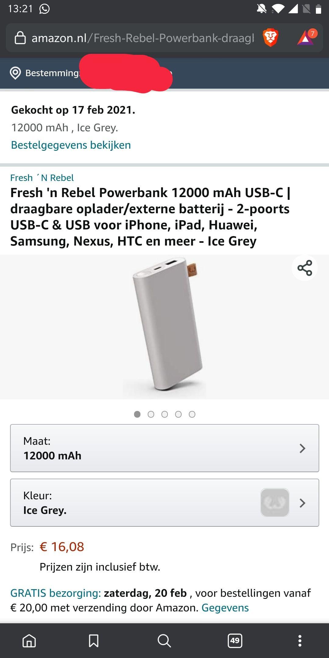 Powerbank fresh & rebel 12000 mah