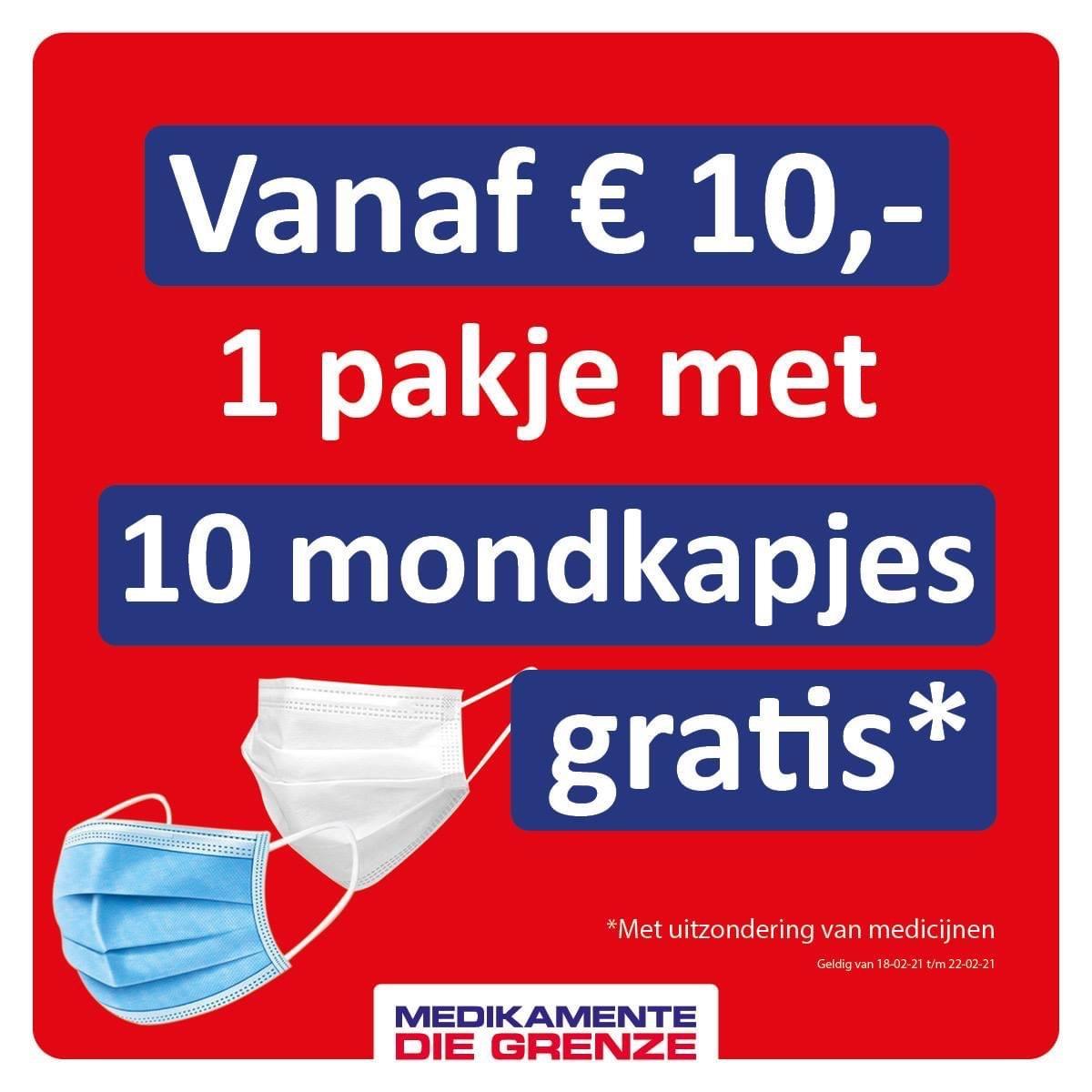 Gratis 10 mondkapjes bij aankoop vanaf €10