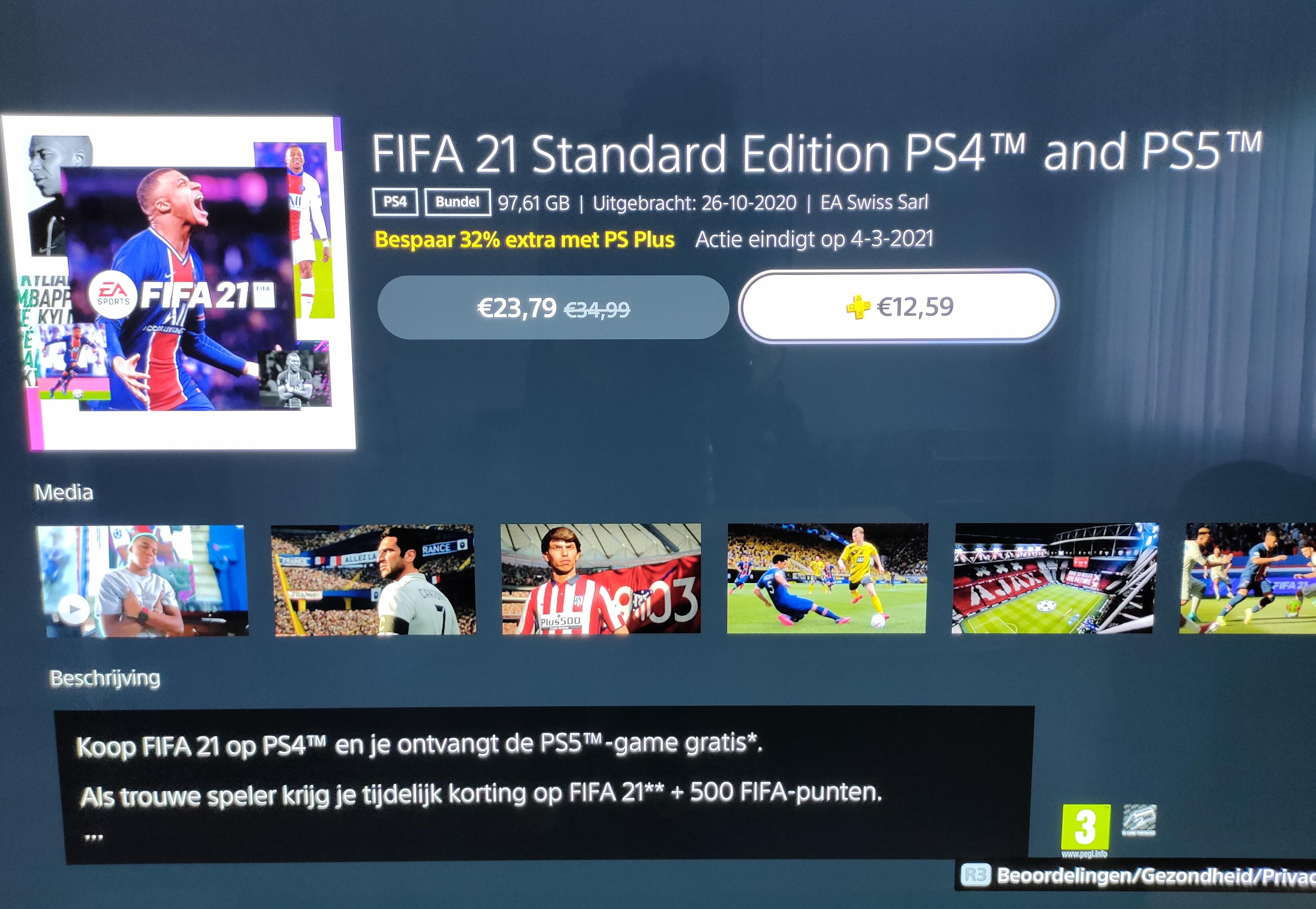 FIFA 21 (PS4/PS5) voor €12,59 door in-game aankoop via FIFA 20 @ PSN/PS+