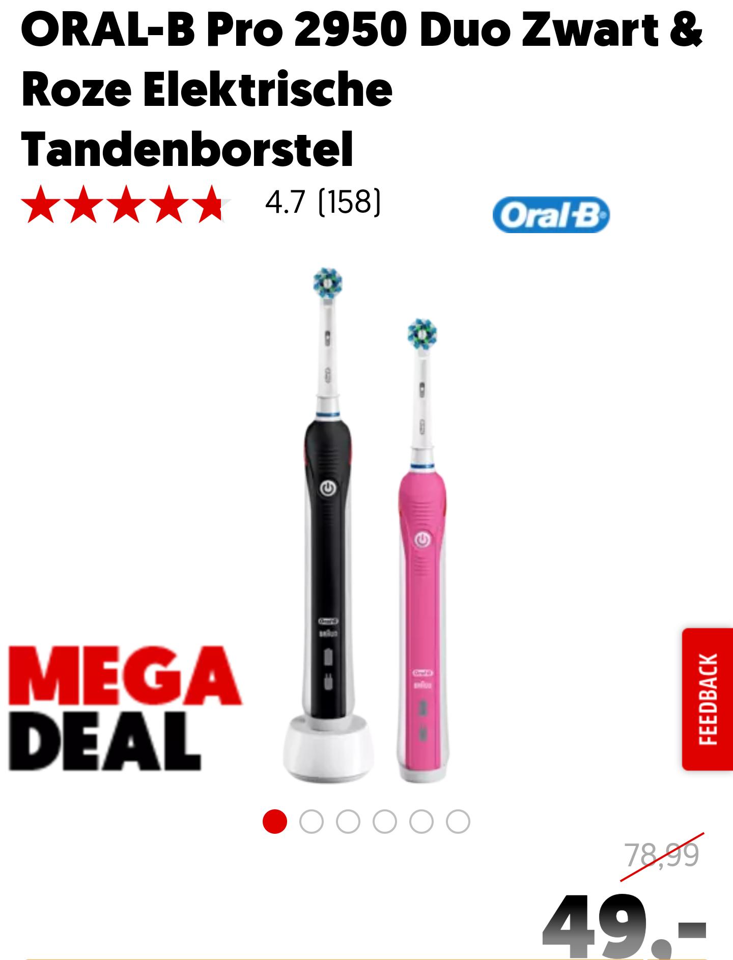 ORAL-B Pro 2950 Duo Zwart & Roze Elektrische Tandenborstel