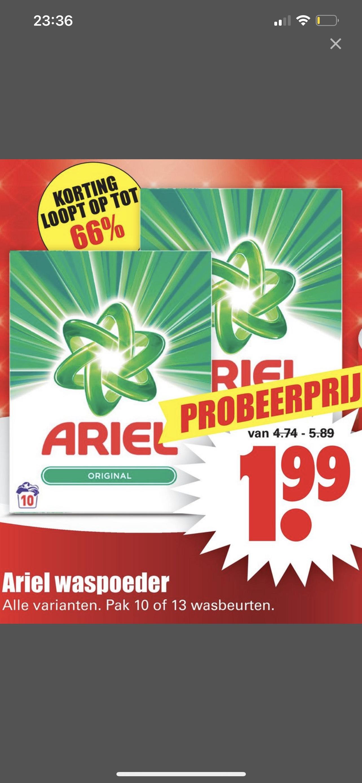 Ariel wasmiddel 10/13 wasbeurten