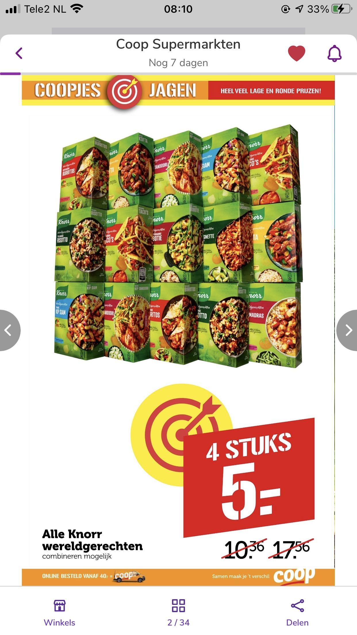 Knorr wereldgerechten 4 voor 5 euro bij Coop