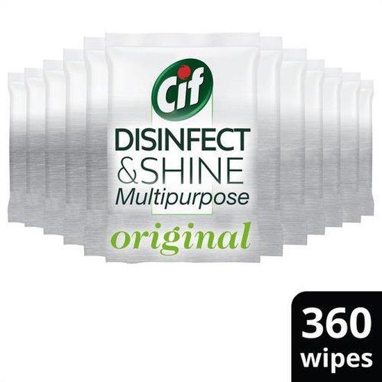 Cif Disinfect & Shine Wipes Desinfectie Schoonmaakdoekjes - 12 x 30 doekjes