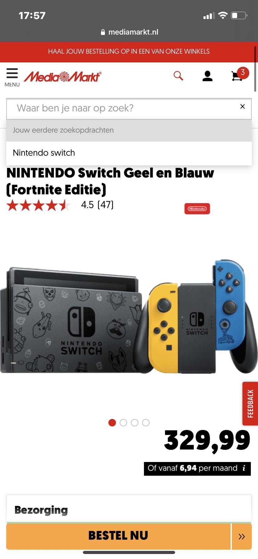 Nintendo switch fortnite editie @Mediamarkt