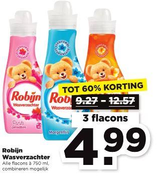 PLUS 3 flacons Robijn wasverzachter €4.99