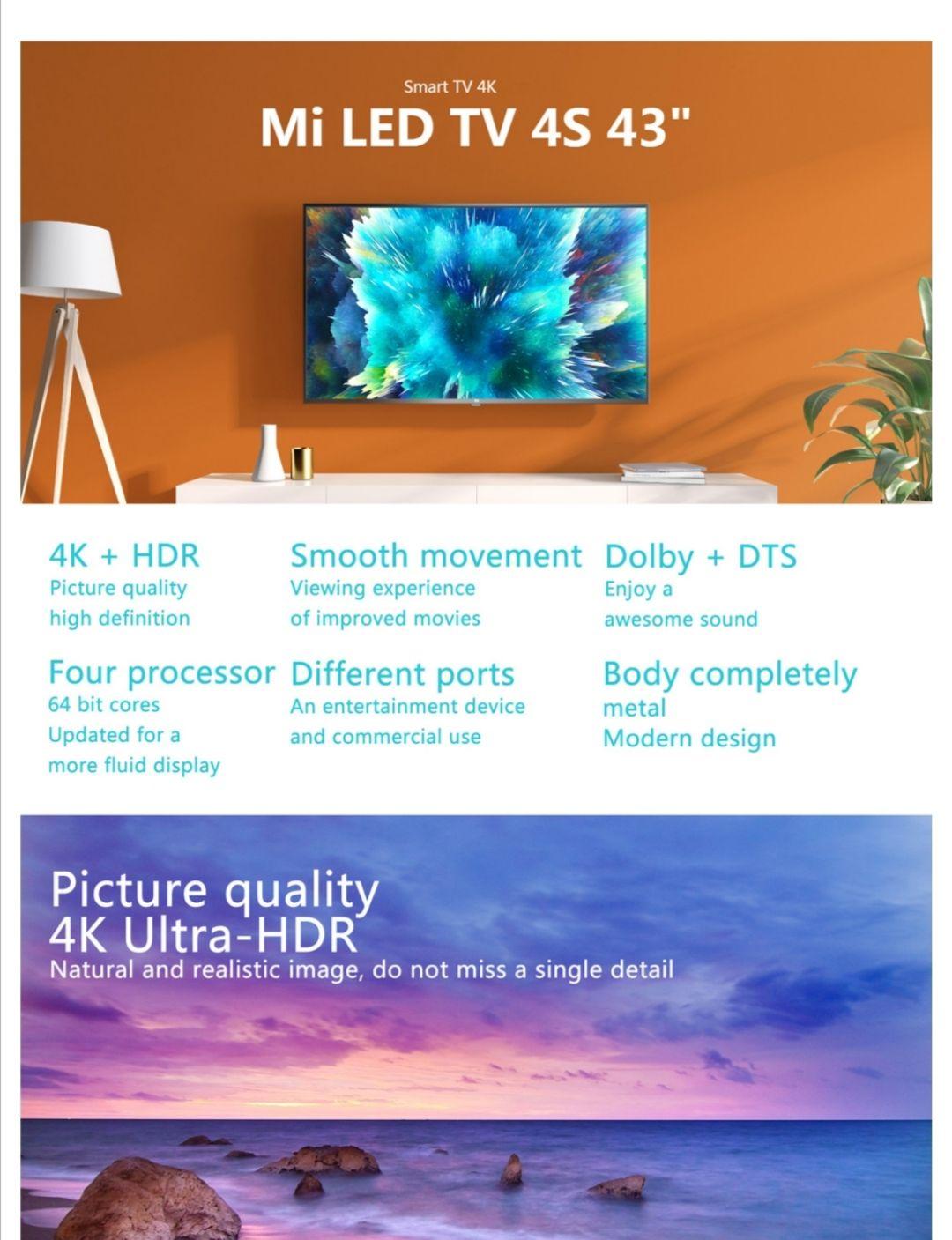 Xiaomi Mi TV 4S 43 Inch Voice Control 5G WIFI bluetooth 4.2 4K HD Android Smart Netflix Prime Video EU shipping