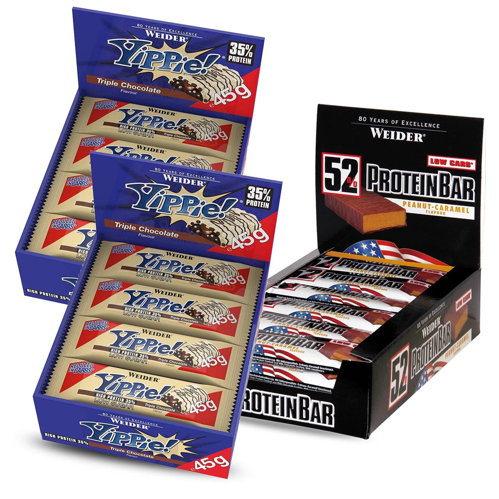 24x45g YIPPIE! reep triple chocolate + 24x50g proteïne reep peanut/caramel afgeprijsd naar €48 @ bodylab