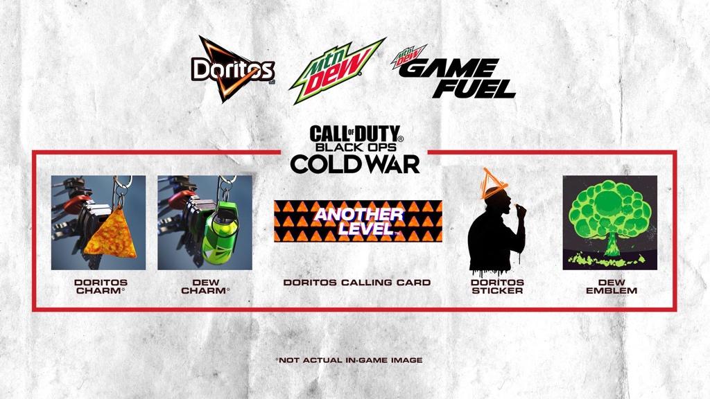 [GRATIS] Doritos charm, Mountain Dew charm en Emblem voor Call of Duty: Cold War
