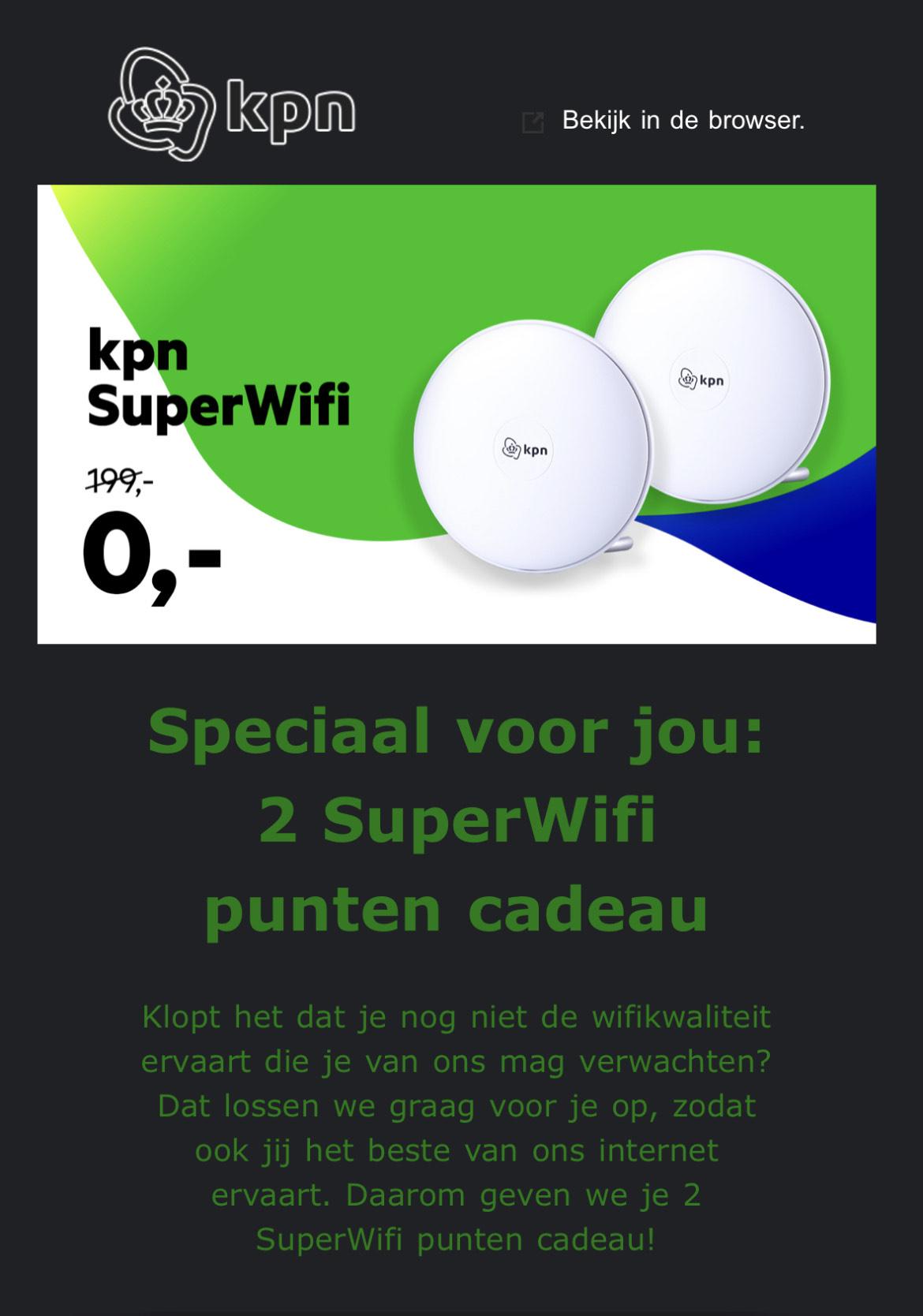 KPN 2 Gratis SuperWifi punten (persoonlijk code - controleer je mail)