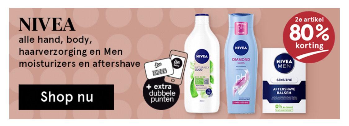 Etos Nivea 2e artikel 80% korting   alle hand, body, haarverzorging en MEN moisturizers en aftershaves