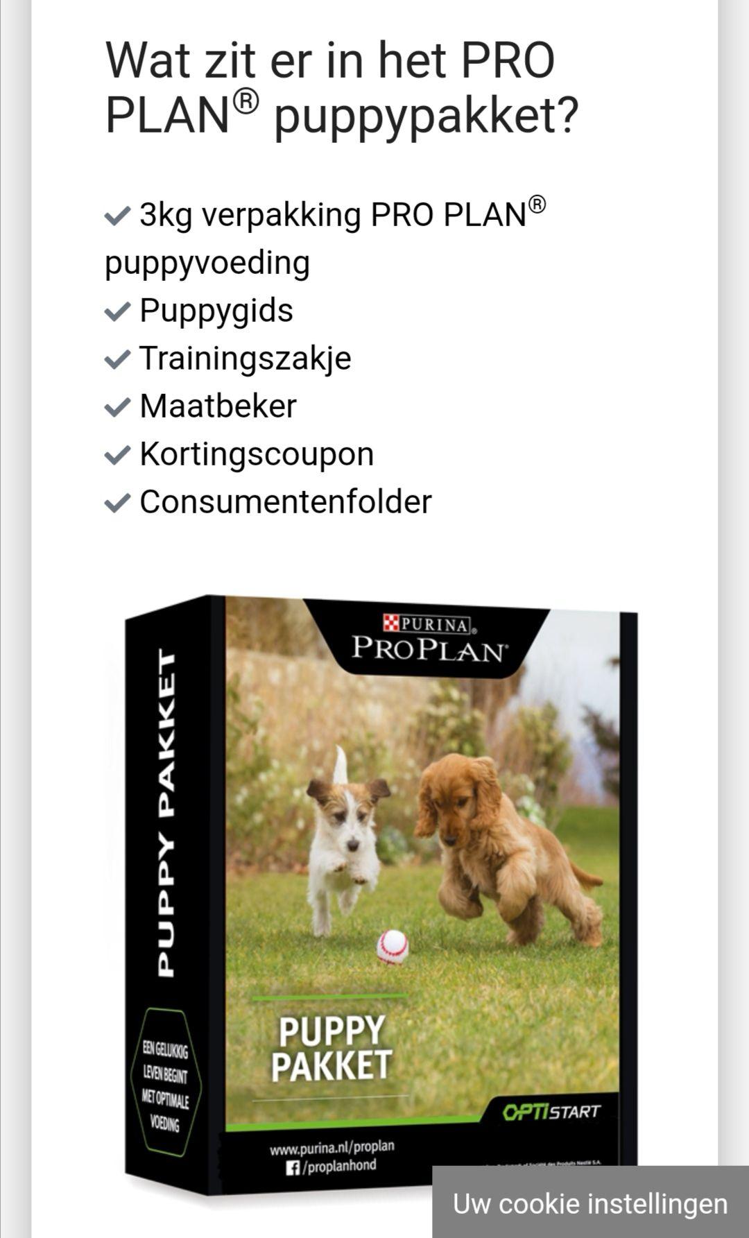 Gratis Purina pro puppy pakket met 3kg voer
