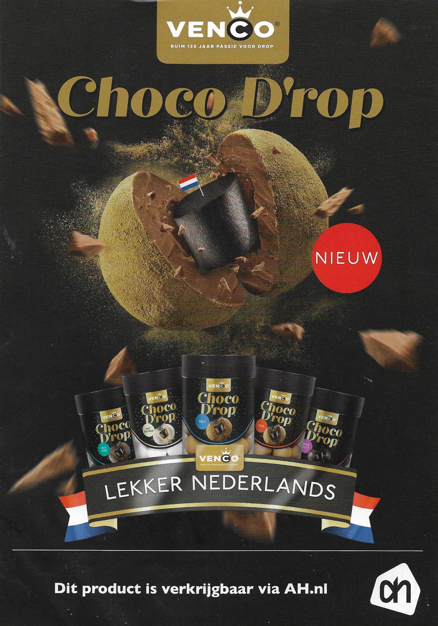50% korting op Venco Choco D'rop bij AH