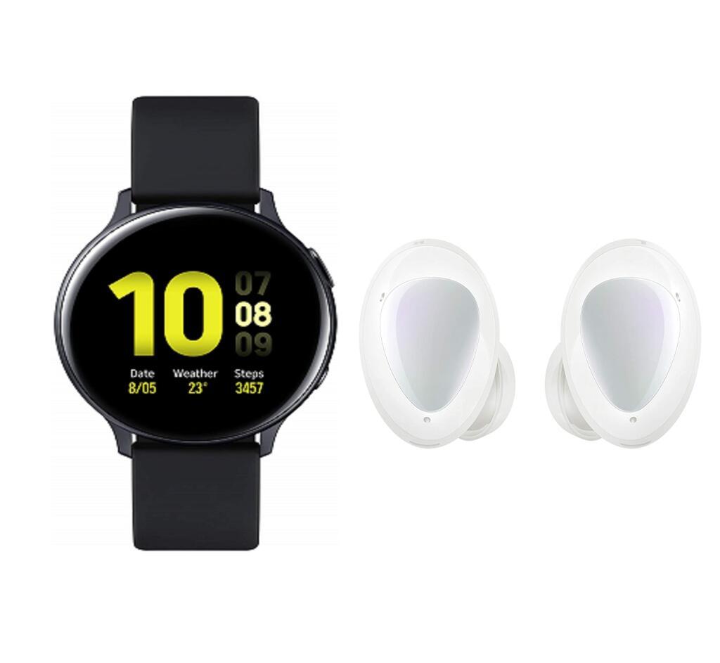 Samsung Galaxy Watch Active2, Explorer Edition, 44 mm, zwart + Samsung Galaxy Buds+, wit