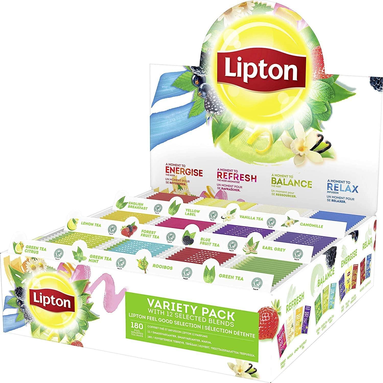 Lipton Thee Feel Good Selection Assortimentsdoos, Theedoos - 180 zakjes, 12 smaken - 1 theedoos