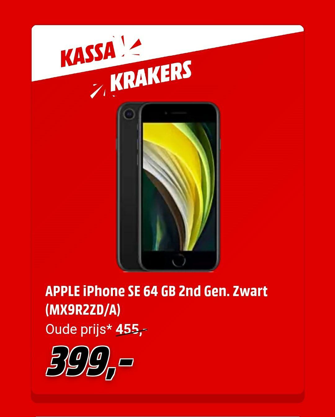 [Grensdeal BE] iPhone SE 2020 64GB 399€ @Mediamarkt BE