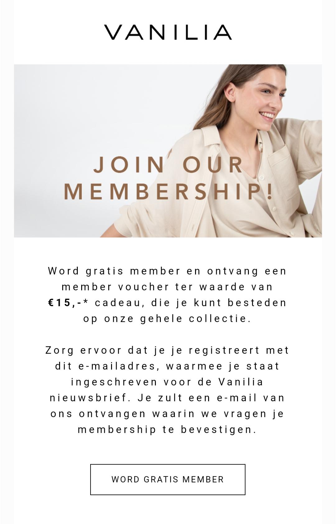 Vanilia voucher voor 15 euro korting voor bestaande members, geldig vanaf 50 euro