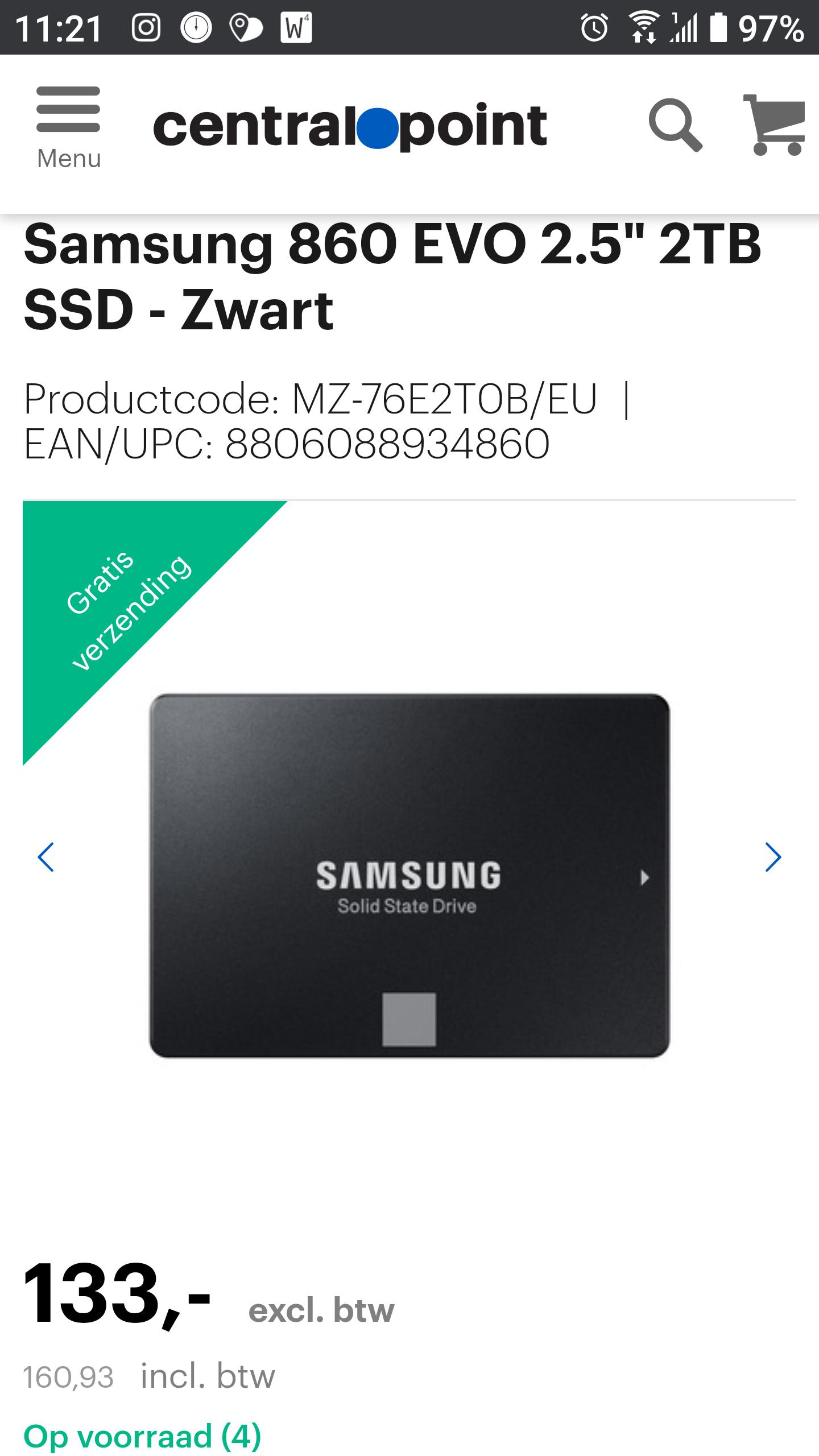 "Samsung 860 EVO 2.5"" 2TB SSD - Zwart"