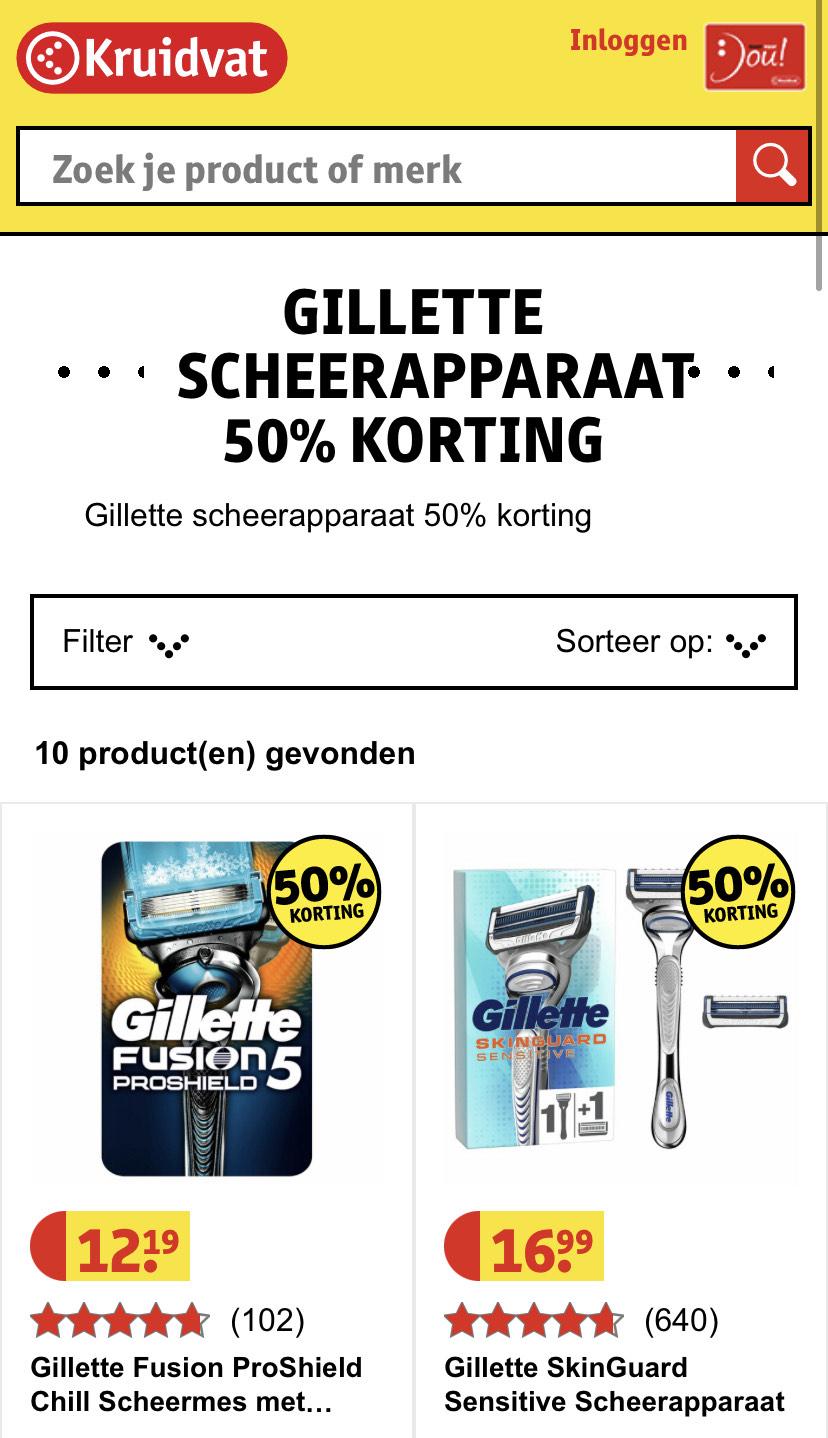 50% korting op Gillette Scheersystemen bij Kruidvat