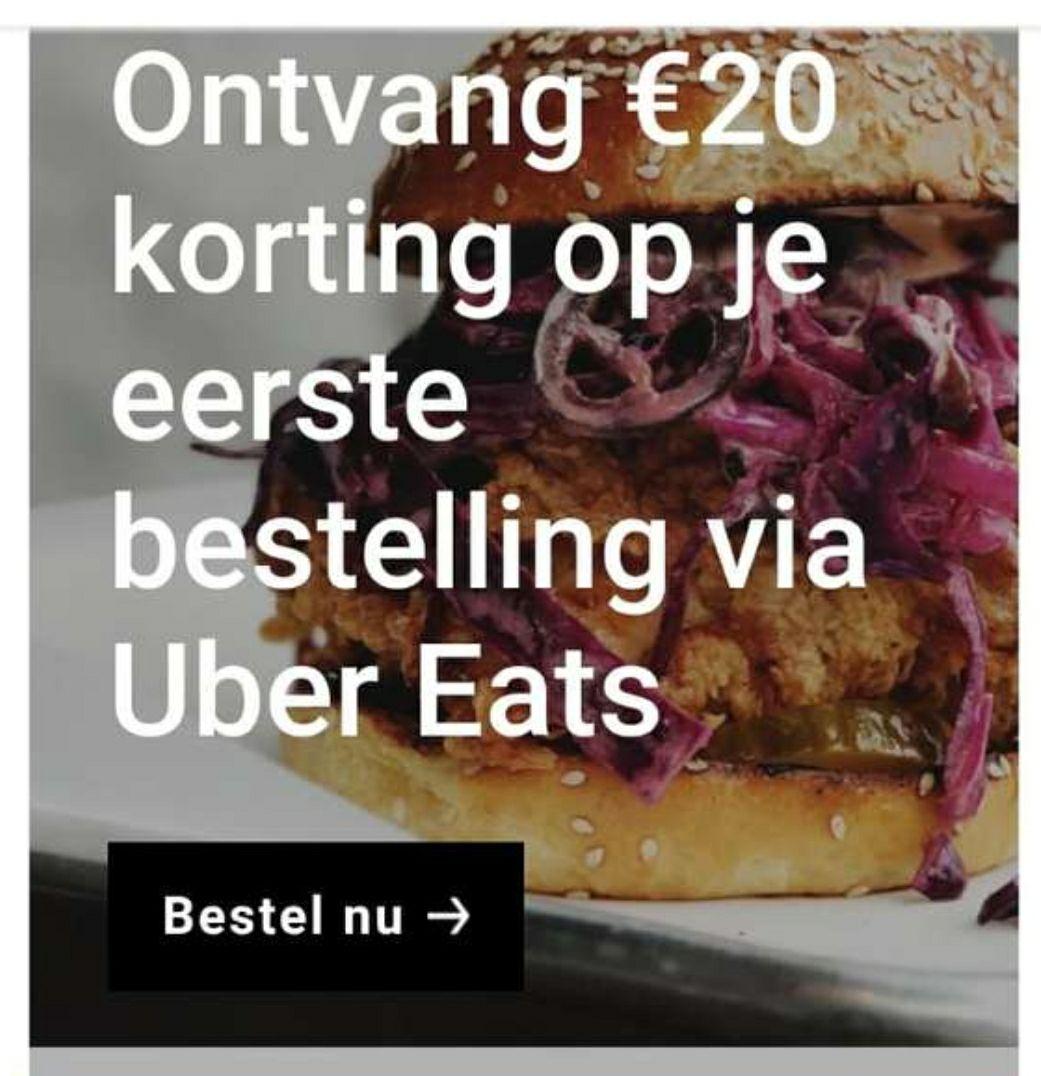 Uber Eats €20 korting bij een minimaal bestelbedrag van €25