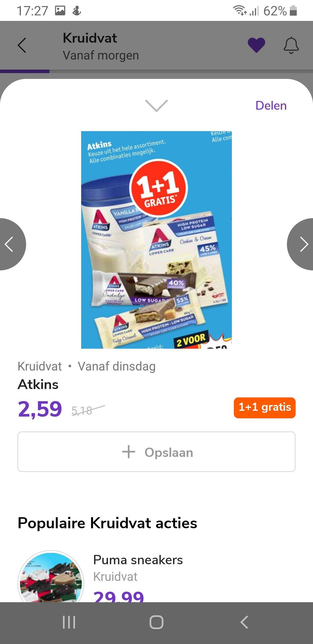 Atkins 1+1 gratis Kruidvat, nu 2 voor 2,59