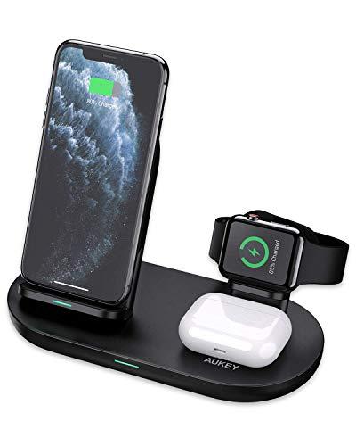 Aukey 3-in-1 Draadloze Oplaadstandaard voor iPhone, Airpods, Apple Watch 10W