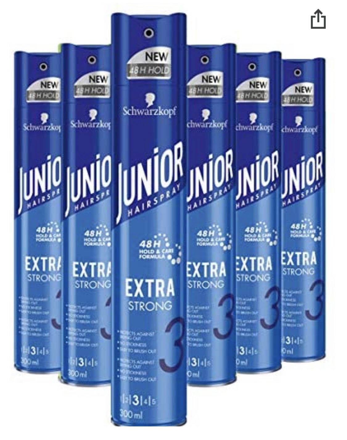Schwarzkopf Junior Hairspray Extra Strong Haarspray 300ml , 6 stuks @ Amazon.nl