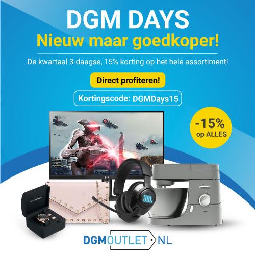 DGM Days - 15% korting op het gehele assortiment t/m zaterdag 27 maart 2021.