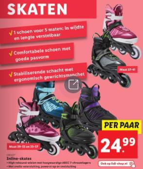 Inline skates €25 (maat 33-41) @ Lidl