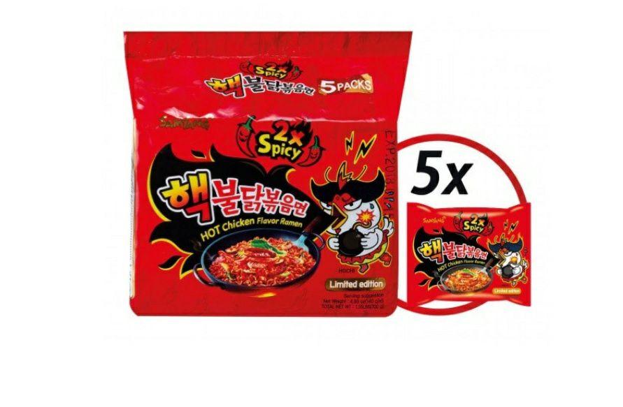Samyang 2x hot fire noodles 5 pack 20 procent korting met code 5 euro korting op je bestelling