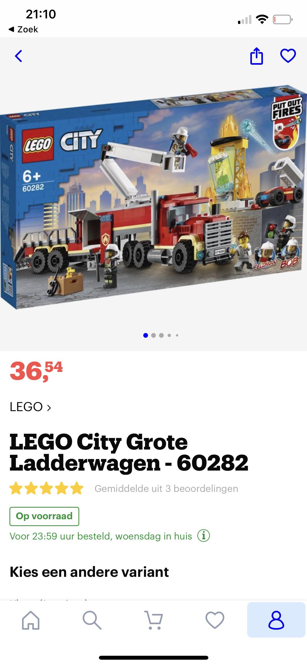 Lego City Grote Ladderwagen 60282 *Laagste prijs ooit