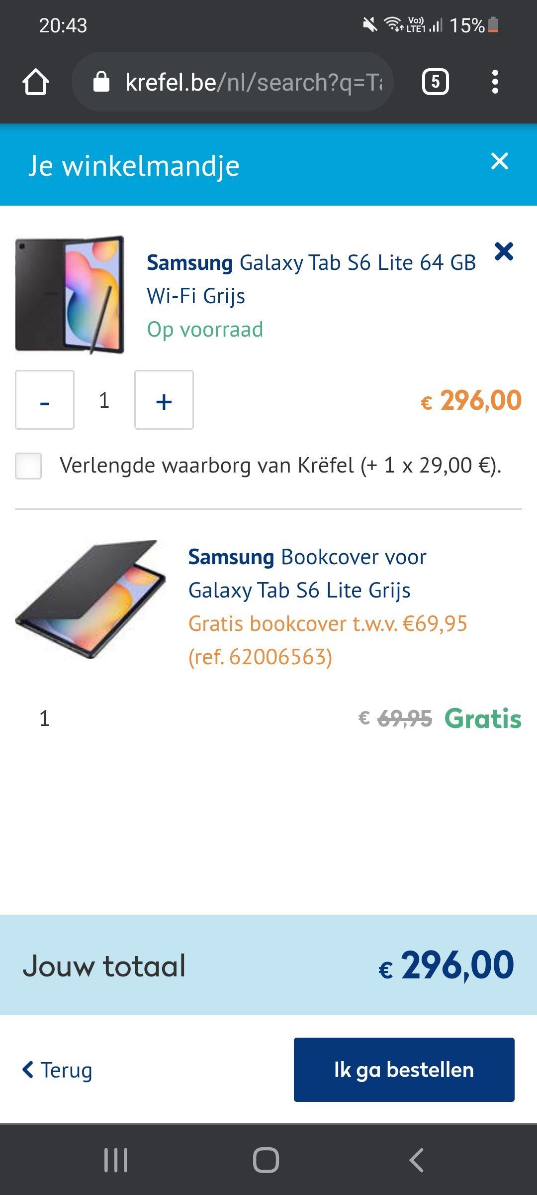 Grensdeal. Samsung galaxy tab s6 lite 64gb + gratis book cover