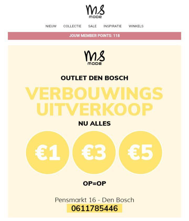[lokaal] Verbouwing uitverkoop MS Mode Den-Bosch: alles €1, €3 en €5