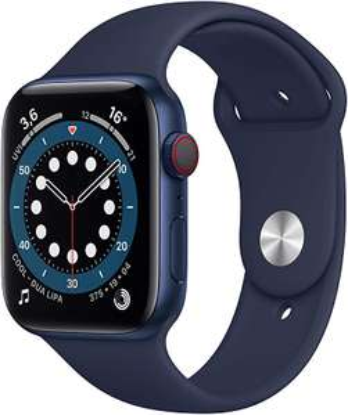 Apple watch 6, blauw, 44mm, GPS + esim/lte