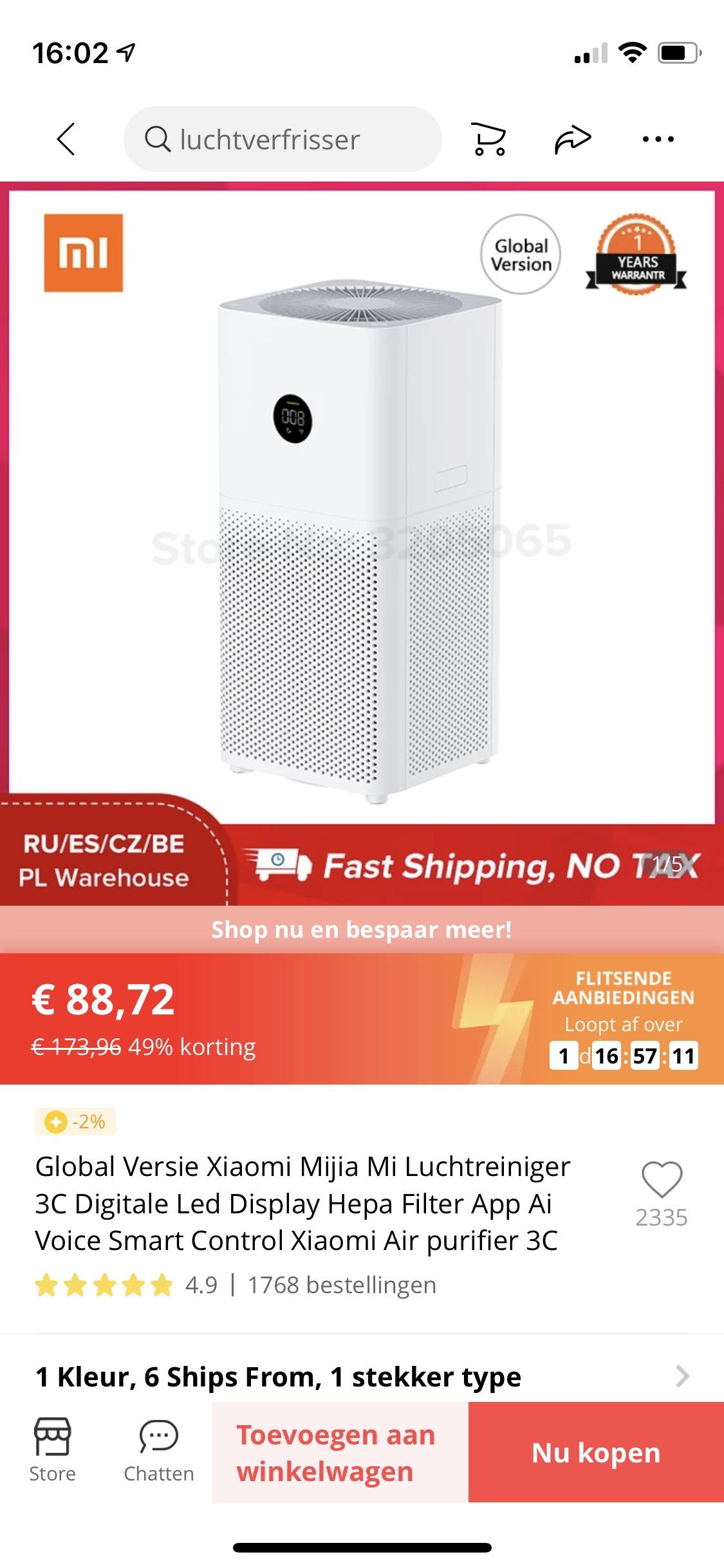 € 88,72 49% Off   Global Versie Xiaomi Mijia Mi Luchtreiniger Xiaomi Air purifier 3C