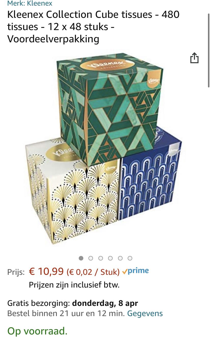 Kleenex Collection Cube tissues - 12 x 48 stuks - Voordeelverpakking
