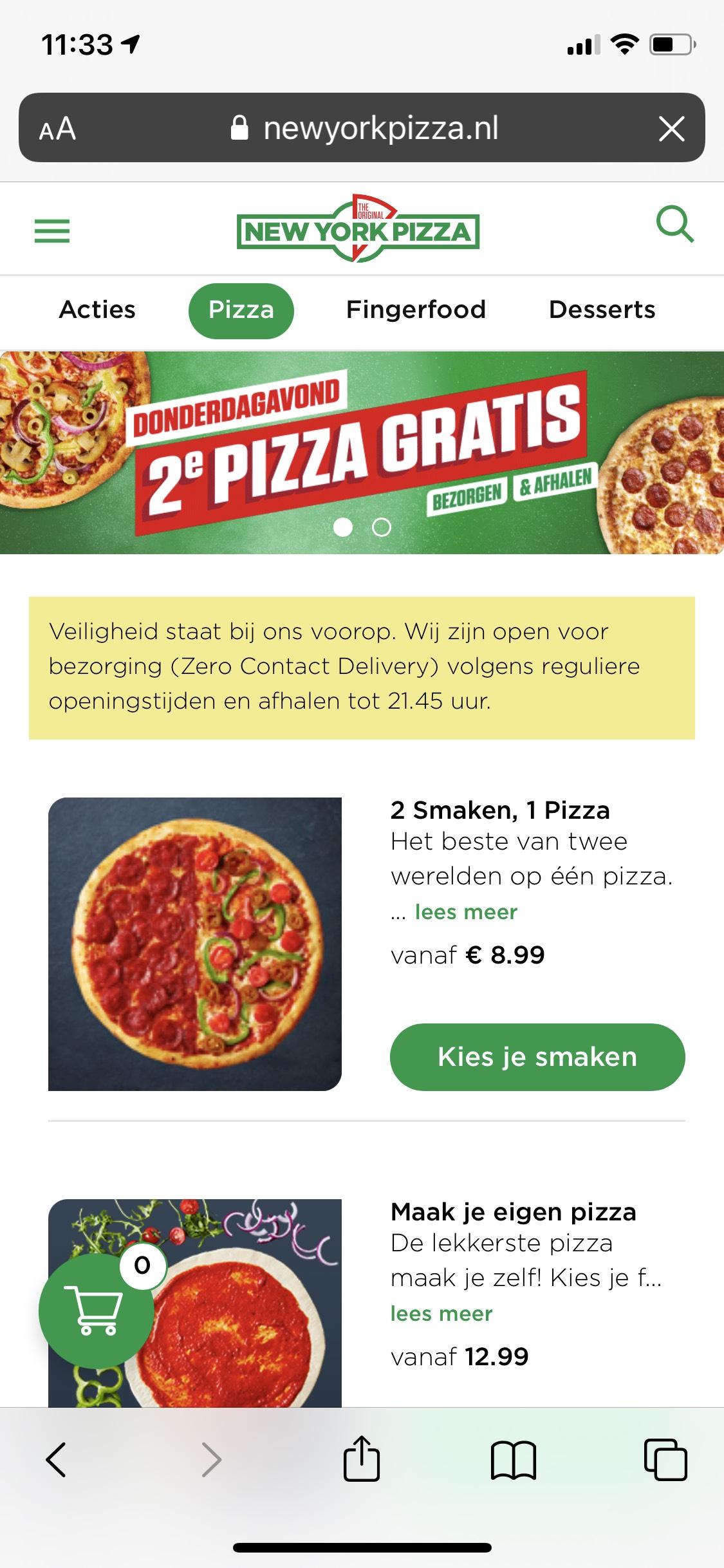 [Landelijk] New York Pizza - 2e pizza gratis (alle formaten!)