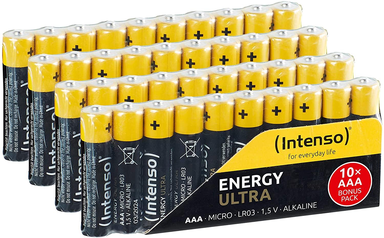Intenso 7501510 Energy Ultra AAA Micro LR03 alkaline batterijen, geel-zwart, AAA Micro 40 Pack